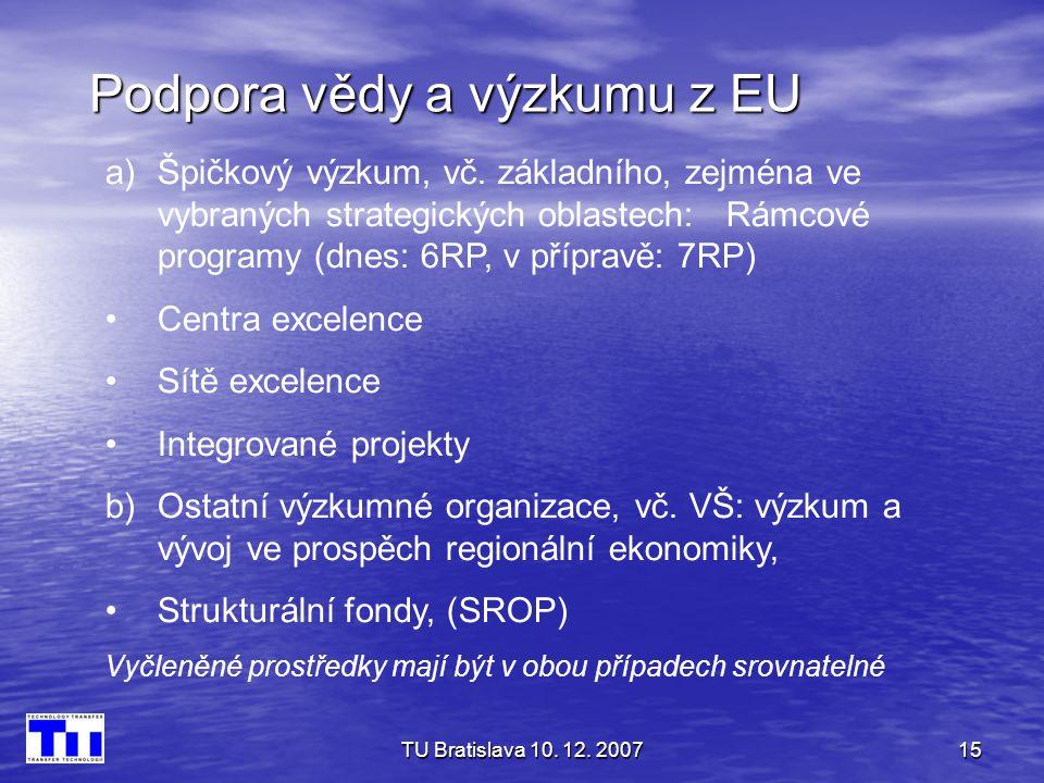 Podpora vědy a výzkumu z EU
