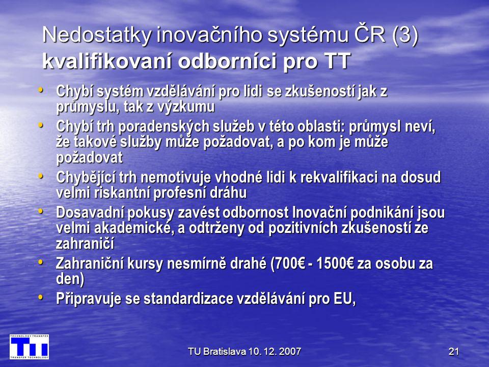 Nedostatky inovačního systému ČR (3) kvalifikovaní odborníci pro TT