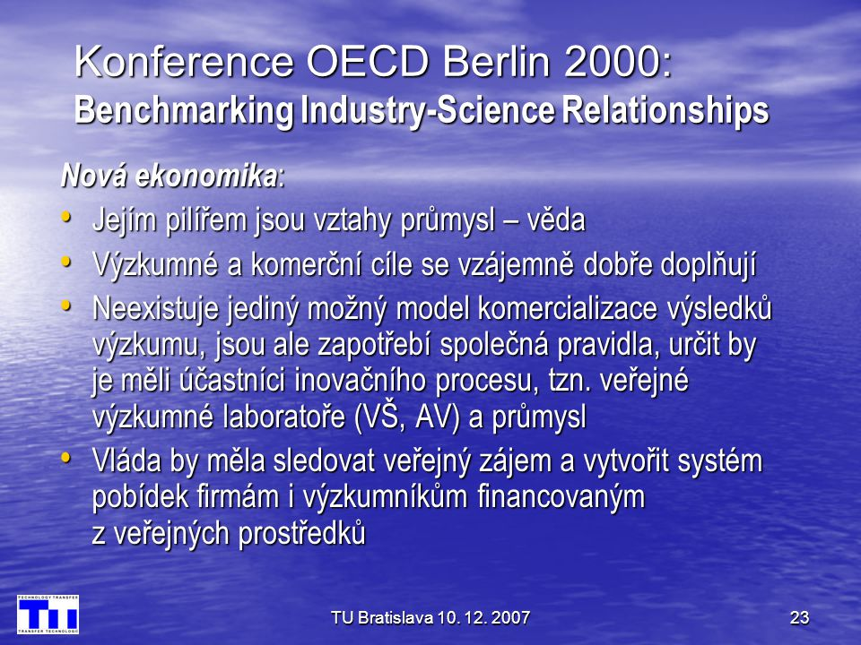 Konference OECD Berlin 2000: Benchmarking Industry-Science Relationships
