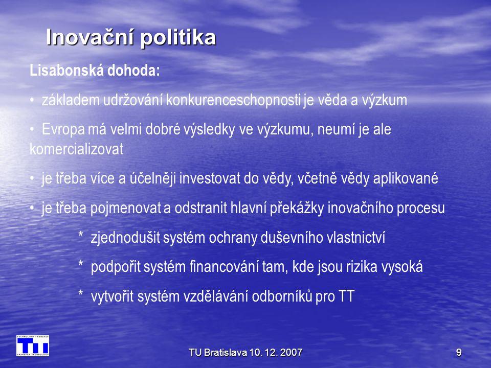Inovační politika Lisabonská dohoda: