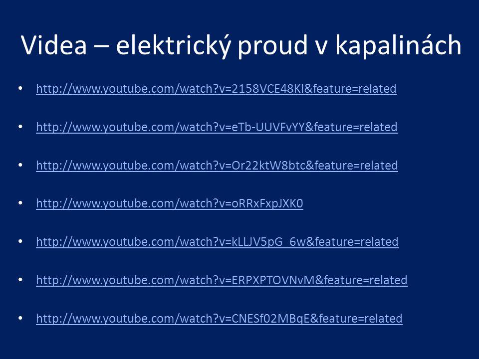 Videa – elektrický proud v kapalinách