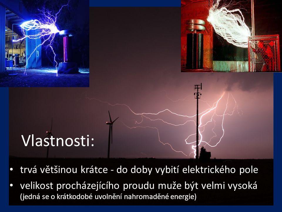 Vlastnosti: trvá většinou krátce - do doby vybití elektrického pole