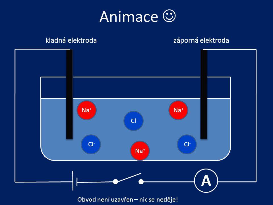 Animace  A kladná elektroda záporná elektroda Na+ Na+ Cl- Cl- Cl- Na+