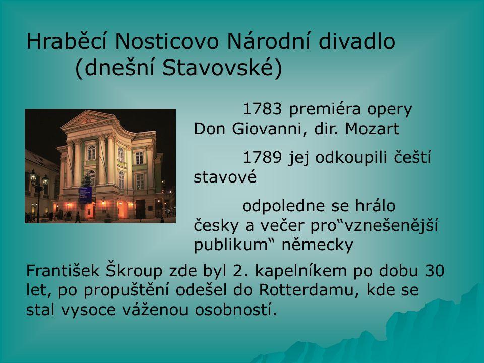 Hraběcí Nosticovo Národní divadlo (dnešní Stavovské)