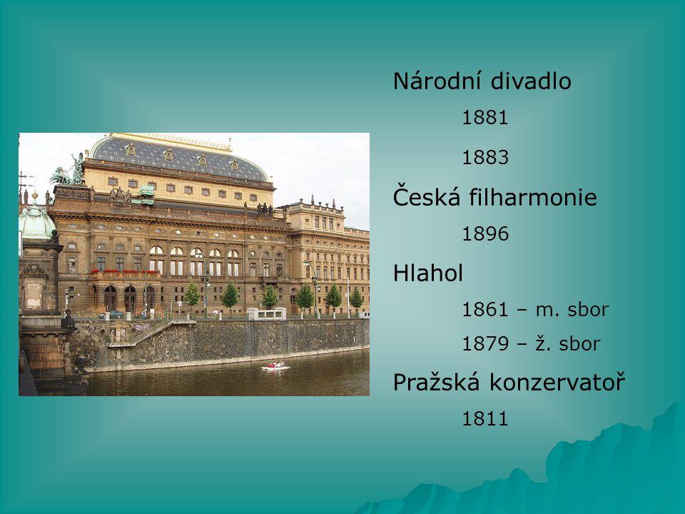 Národní divadlo 1883 Česká filharmonie Hlahol Pražská konzervatoř 1896