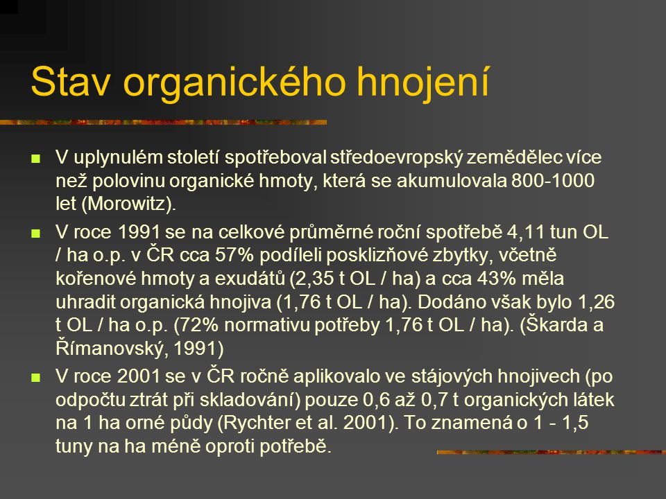 Stav organického hnojení