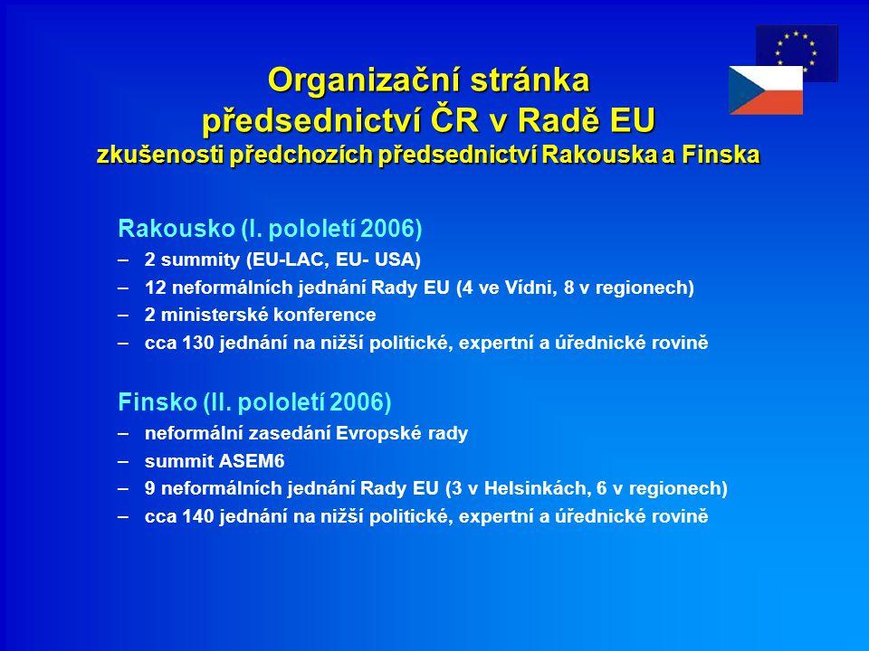 Organizační stránka předsednictví ČR v Radě EU zkušenosti předchozích předsednictví Rakouska a Finska