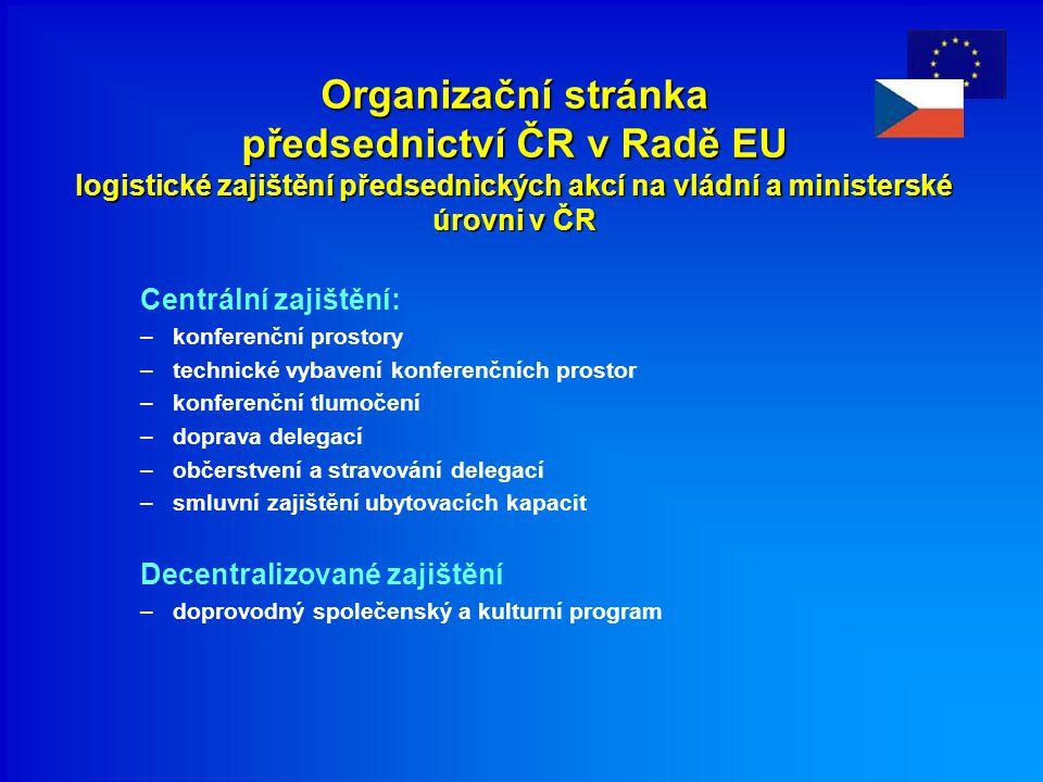 Organizační stránka předsednictví ČR v Radě EU logistické zajištění předsednických akcí na vládní a ministerské úrovni v ČR