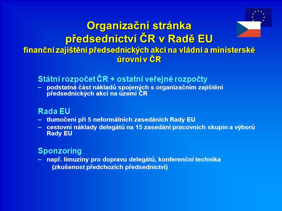 Organizační stránka předsednictví ČR v Radě EU finanční zajištění předsednických akcí na vládní a ministerské úrovni v ČR