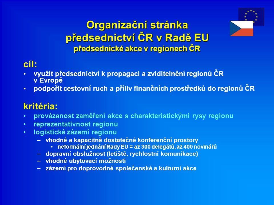 Organizační stránka předsednictví ČR v Radě EU předsednické akce v regionech ČR