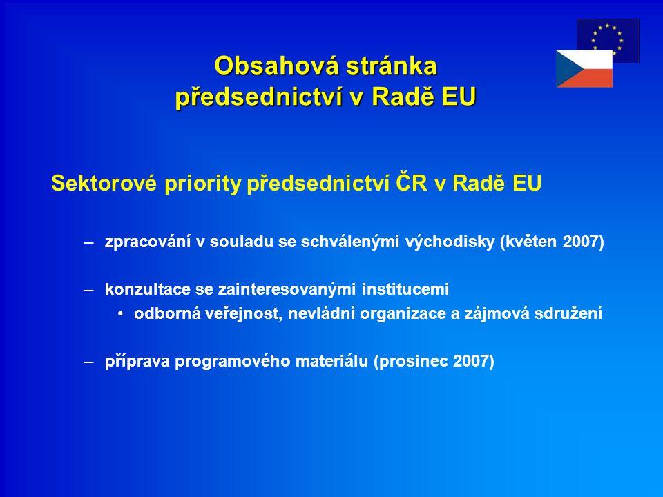 Obsahová stránka předsednictví v Radě EU