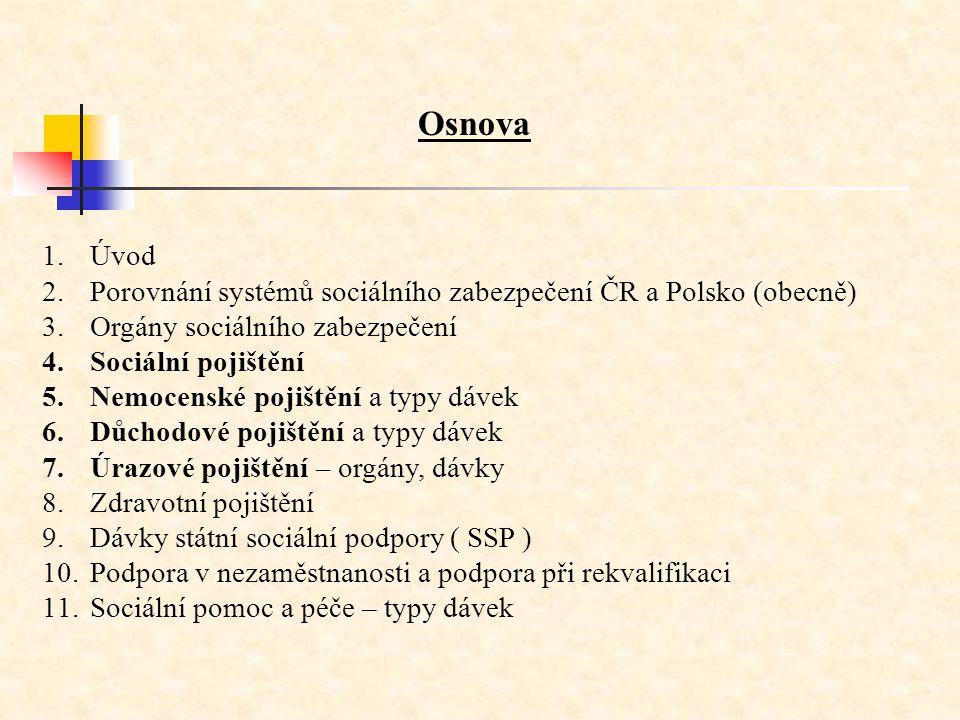 Osnova Úvod. Porovnání systémů sociálního zabezpečení ČR a Polsko (obecně) Orgány sociálního zabezpečení.