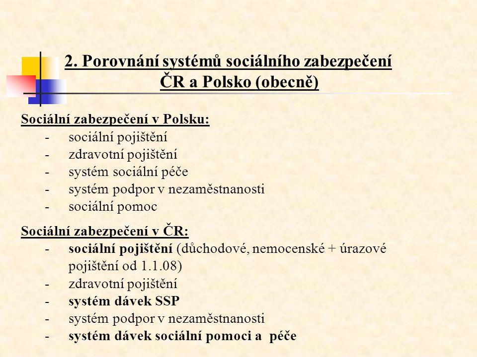 2. Porovnání systémů sociálního zabezpečení ČR a Polsko (obecně)