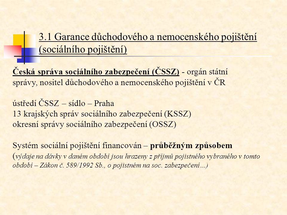 3.1 Garance důchodového a nemocenského pojištění (sociálního pojištění)