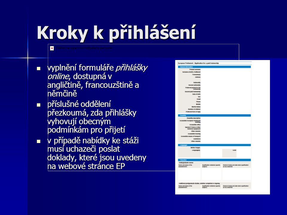 Kroky k přihlášení vyplnění formuláře přihlášky online, dostupná v angličtině, francouzštině a němčině.