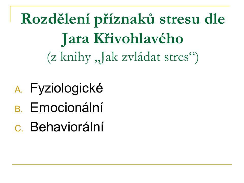 """Rozdělení příznaků stresu dle Jara Křivohlavého (z knihy """"Jak zvládat stres )"""