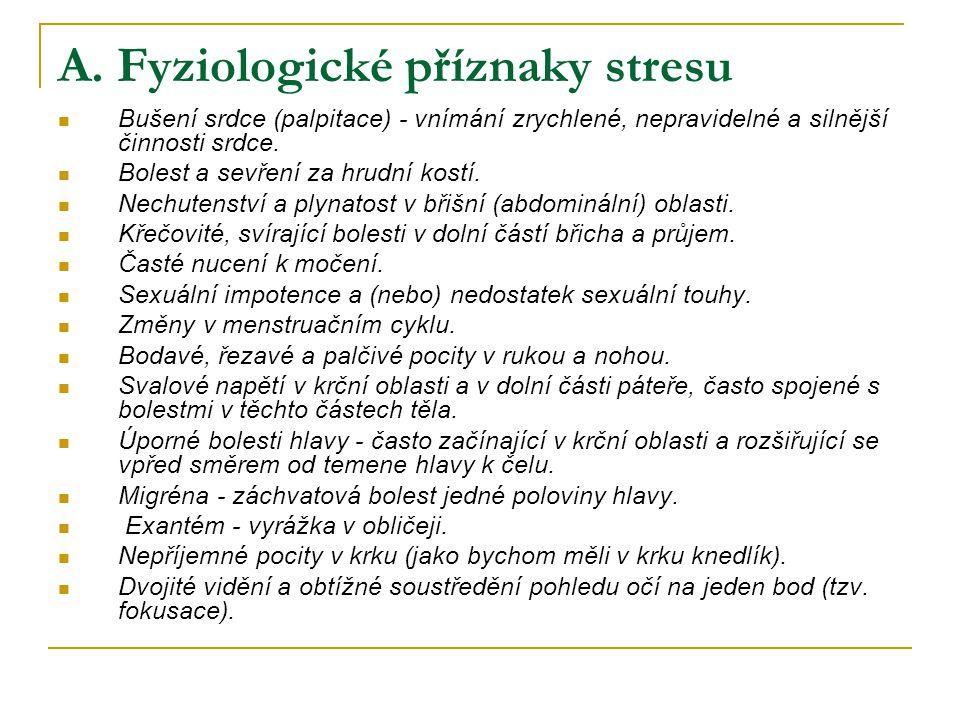 A. Fyziologické příznaky stresu