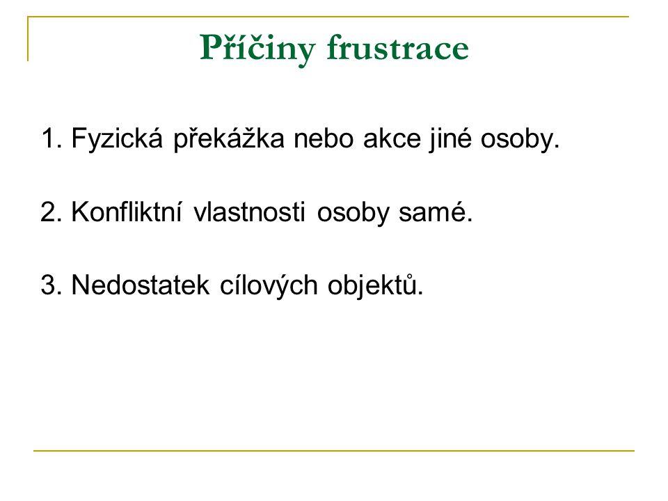 Příčiny frustrace 1. Fyzická překážka nebo akce jiné osoby.