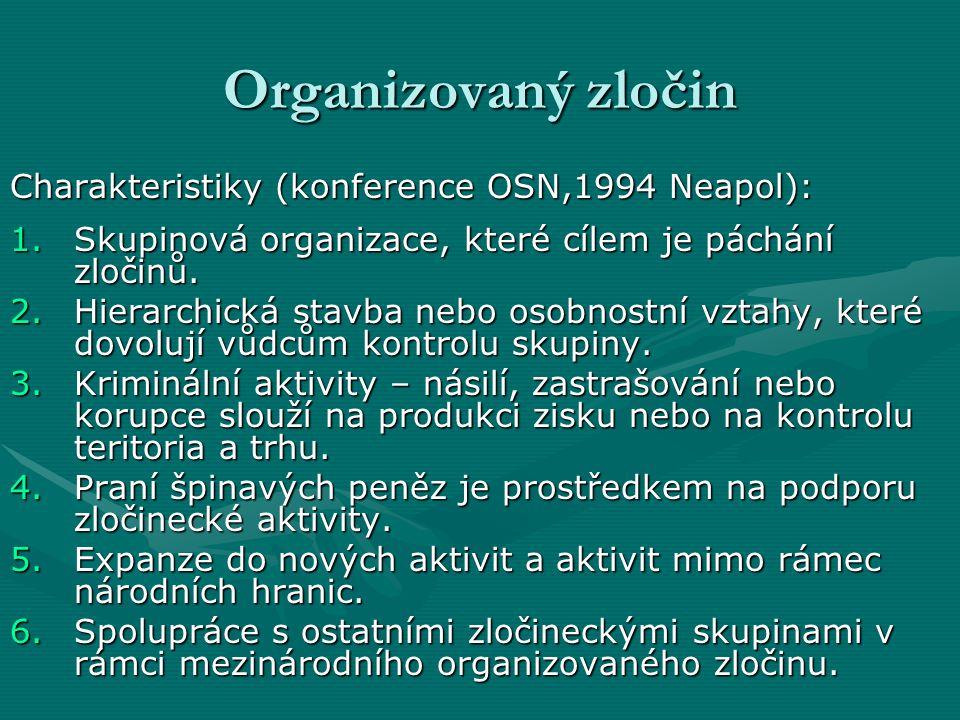 Organizovaný zločin Charakteristiky (konference OSN,1994 Neapol):