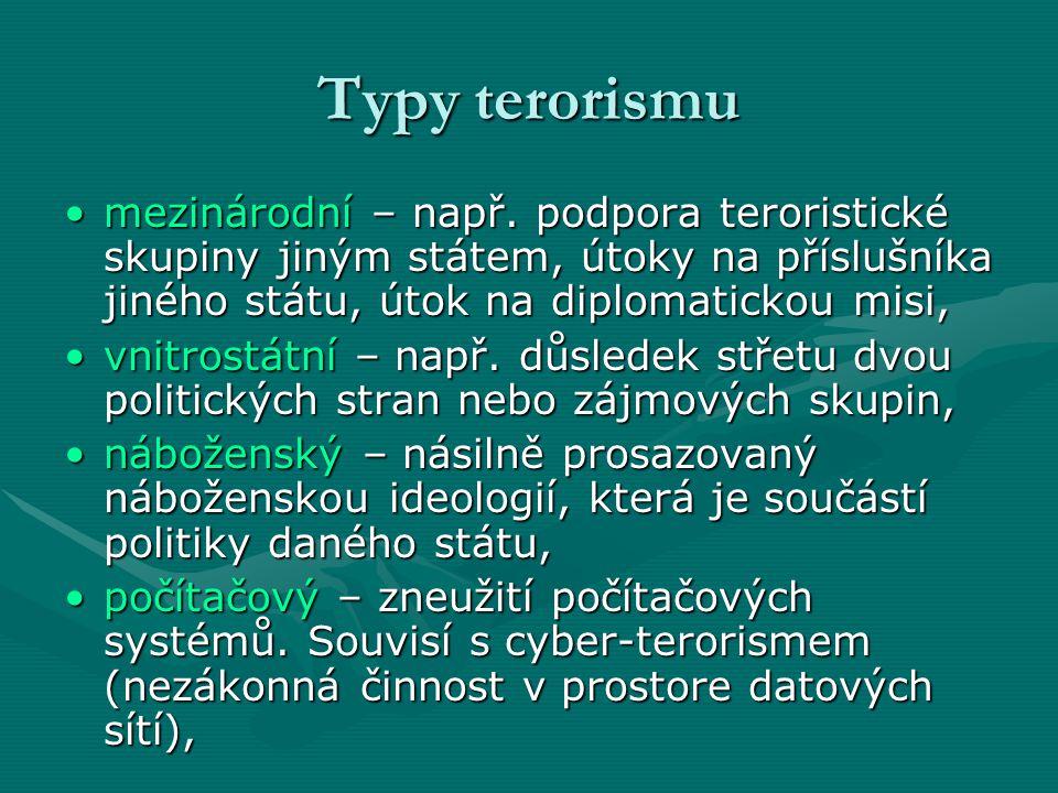 Typy terorismu mezinárodní – např. podpora teroristické skupiny jiným státem, útoky na příslušníka jiného státu, útok na diplomatickou misi,