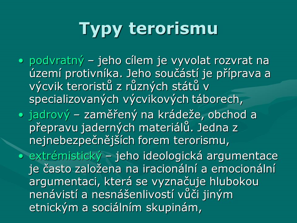Typy terorismu