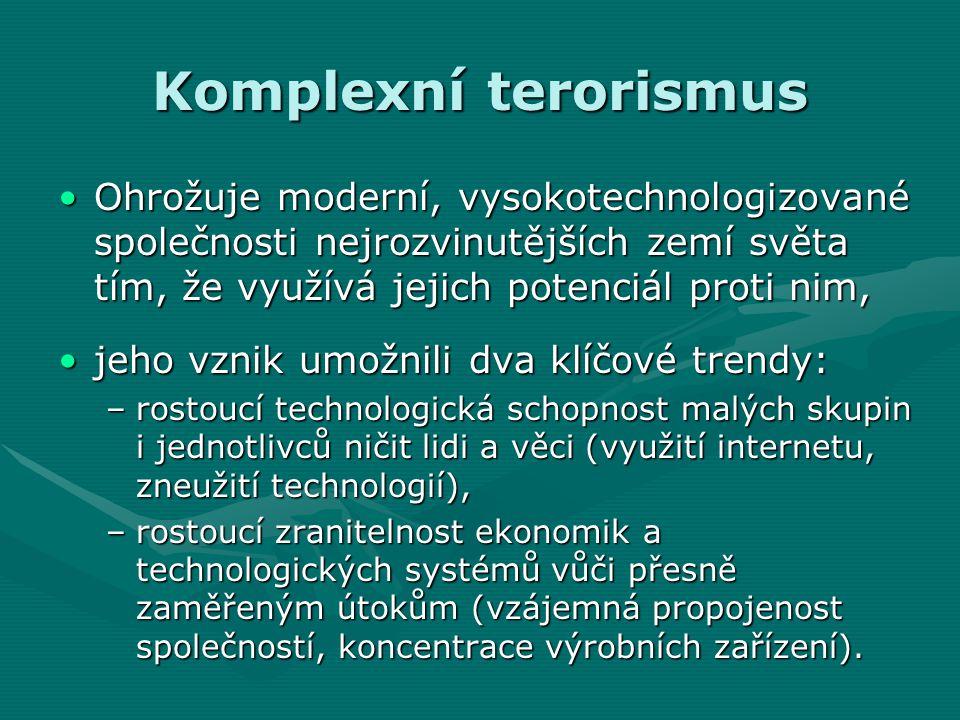 Komplexní terorismus Ohrožuje moderní, vysokotechnologizované společnosti nejrozvinutějších zemí světa tím, že využívá jejich potenciál proti nim,