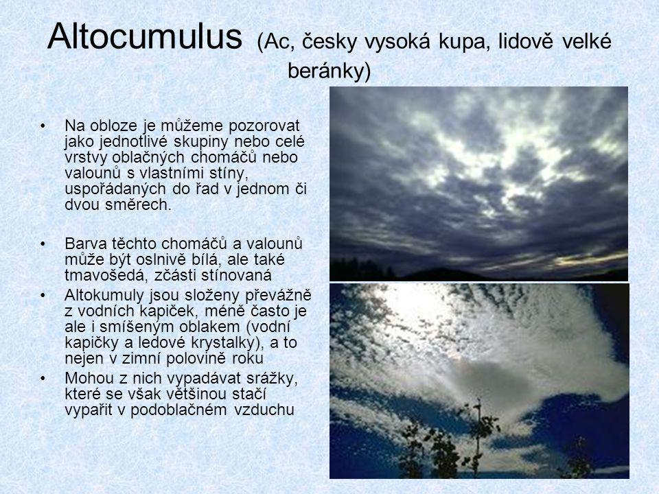 Altocumulus (Ac, česky vysoká kupa, lidově velké beránky)