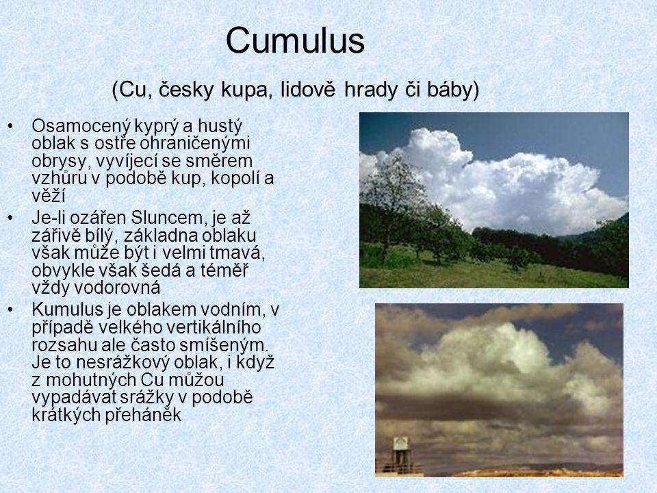 Cumulus (Cu, česky kupa, lidově hrady či báby)
