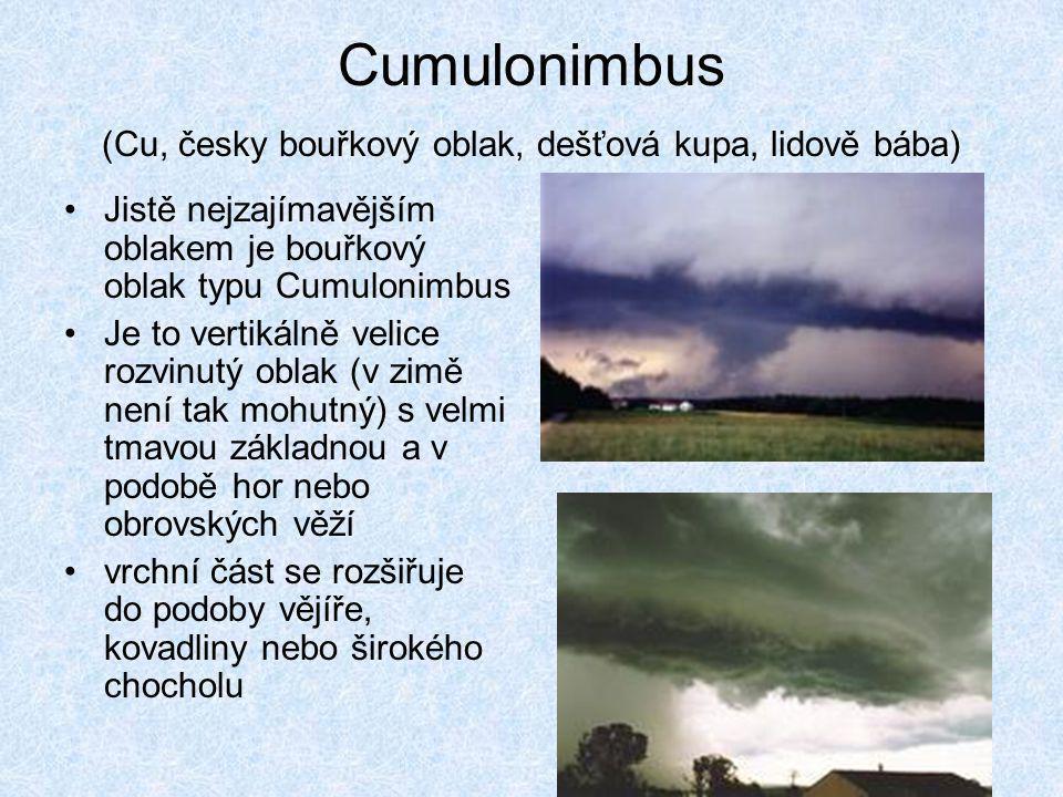 Cumulonimbus (Cu, česky bouřkový oblak, dešťová kupa, lidově bába)