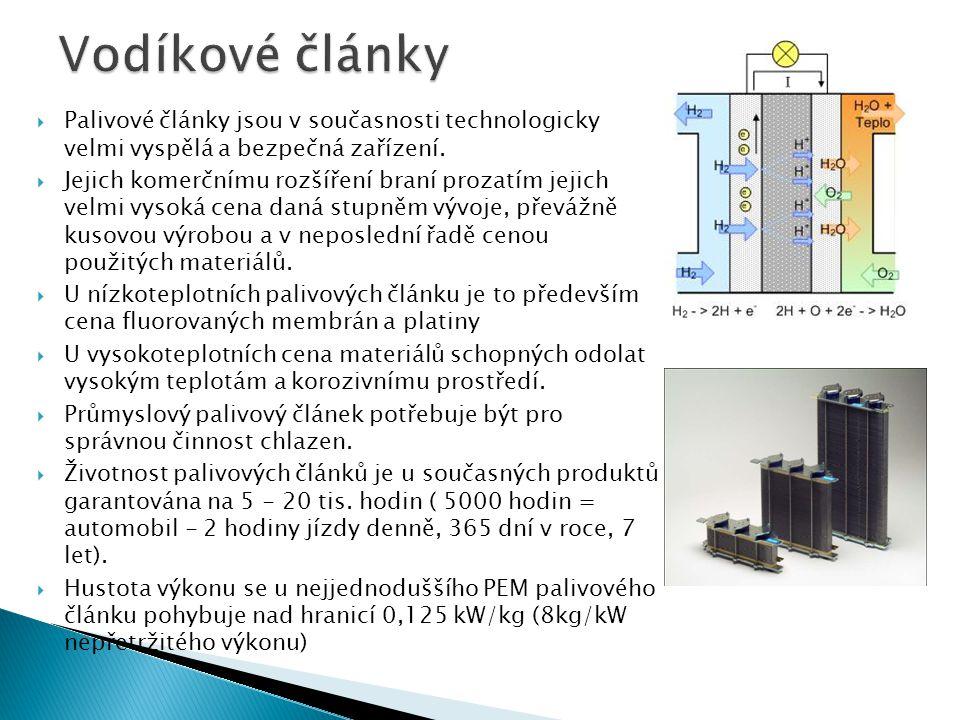 Vodíkové články Palivové články jsou v současnosti technologicky velmi vyspělá a bezpečná zařízení.
