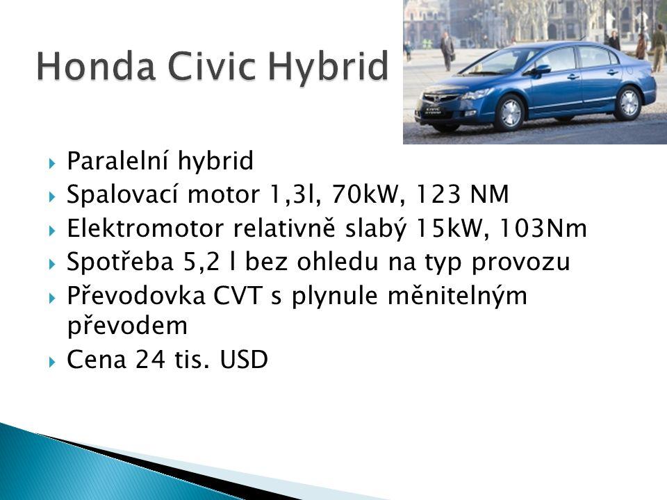 Honda Civic Hybrid Paralelní hybrid Spalovací motor 1,3l, 70kW, 123 NM
