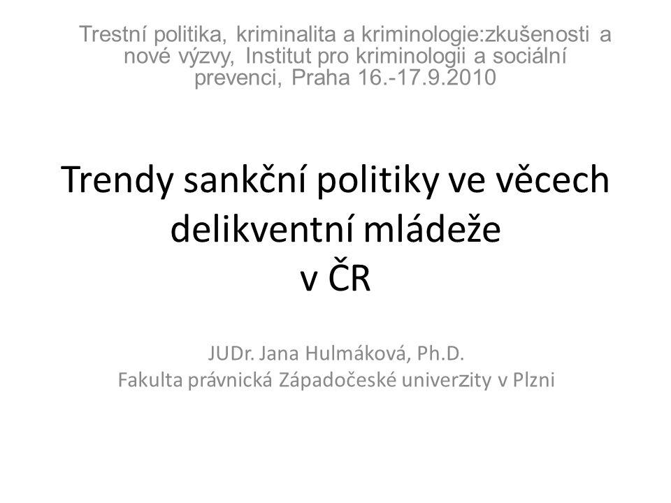Trendy sankční politiky ve věcech delikventní mládeže v ČR