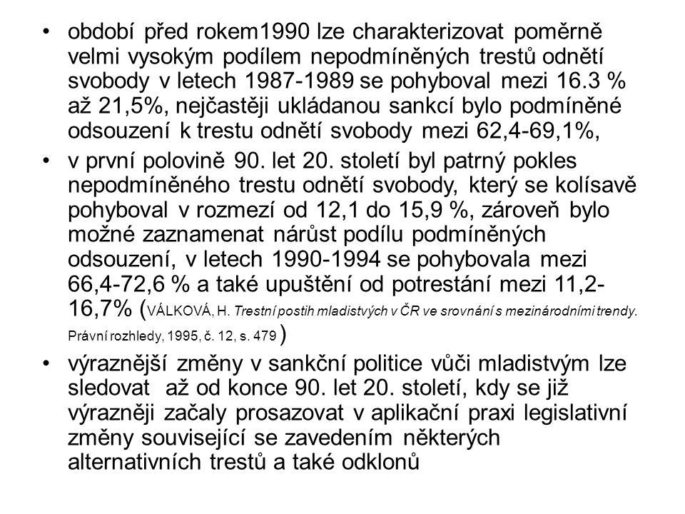 období před rokem1990 lze charakterizovat poměrně velmi vysokým podílem nepodmíněných trestů odnětí svobody v letech 1987-1989 se pohyboval mezi 16.3 % až 21,5%, nejčastěji ukládanou sankcí bylo podmíněné odsouzení k trestu odnětí svobody mezi 62,4-69,1%,