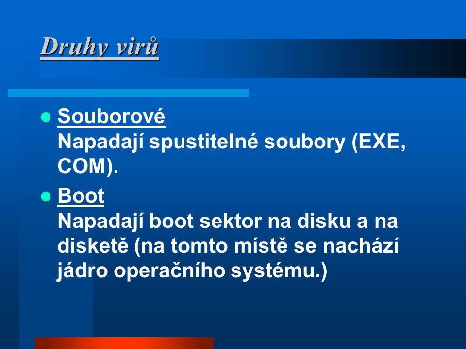 Druhy virů Souborové Napadají spustitelné soubory (EXE, COM).