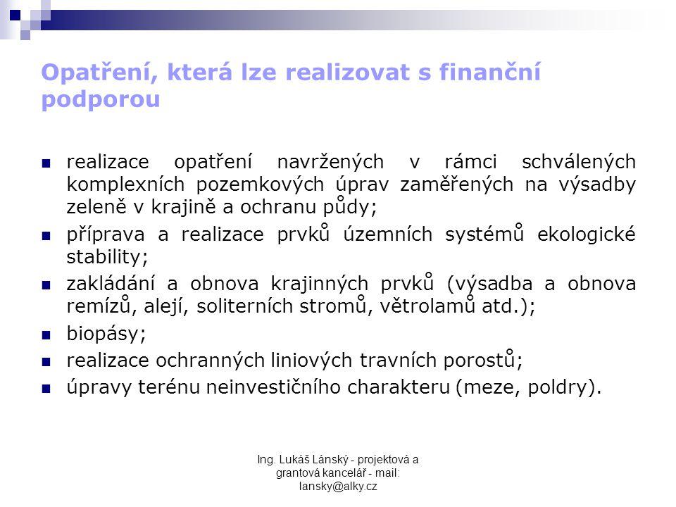 Opatření, která lze realizovat s finanční podporou