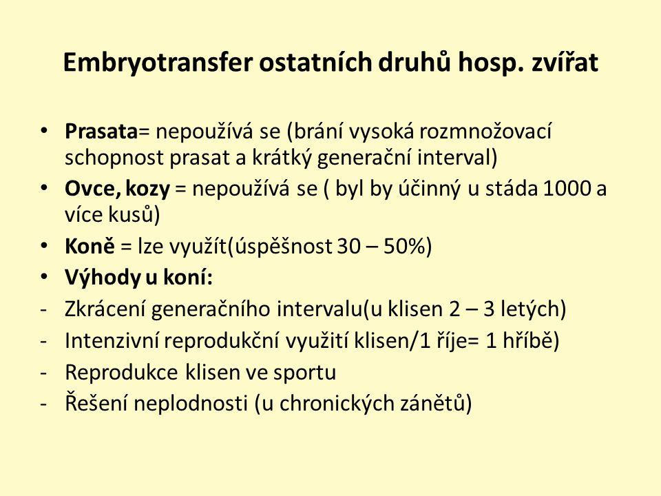 Embryotransfer ostatních druhů hosp. zvířat