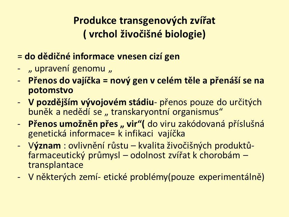 Produkce transgenových zvířat ( vrchol živočišné biologie)
