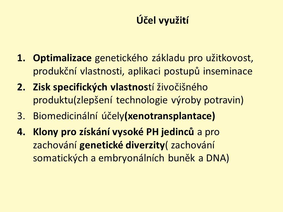 Účel využití Optimalizace genetického základu pro užitkovost, produkční vlastnosti, aplikaci postupů inseminace.