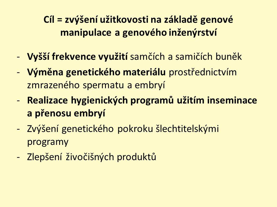 Cíl = zvýšení užitkovosti na základě genové manipulace a genového inženýrství