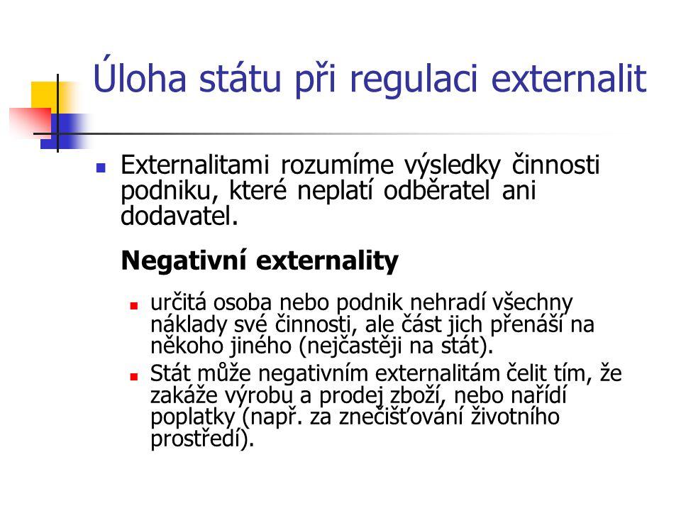 Úloha státu při regulaci externalit
