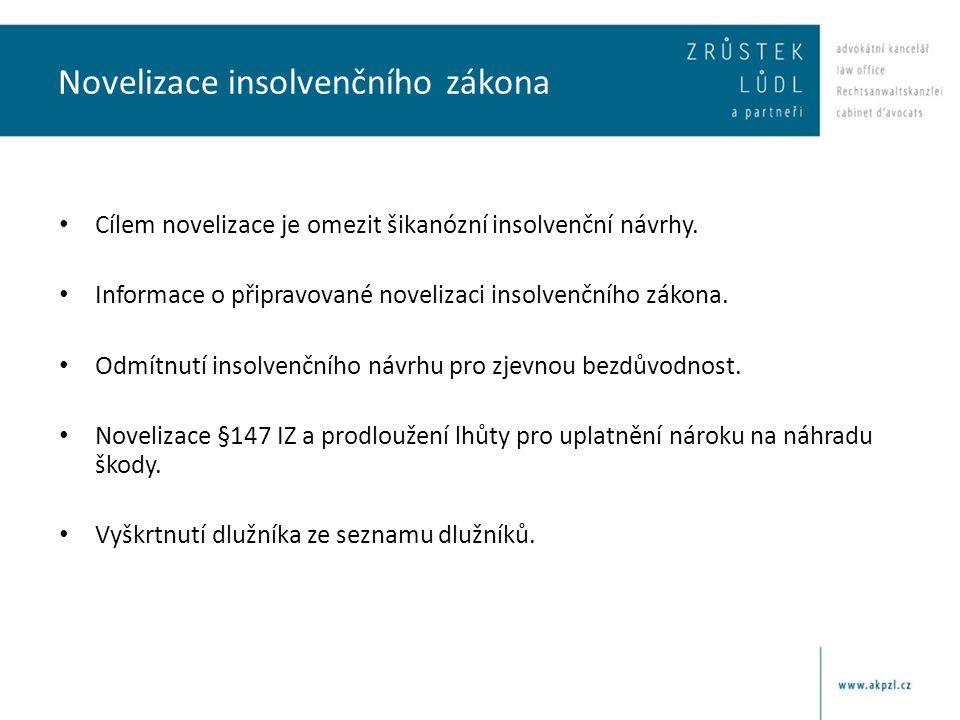 Novelizace insolvenčního zákona