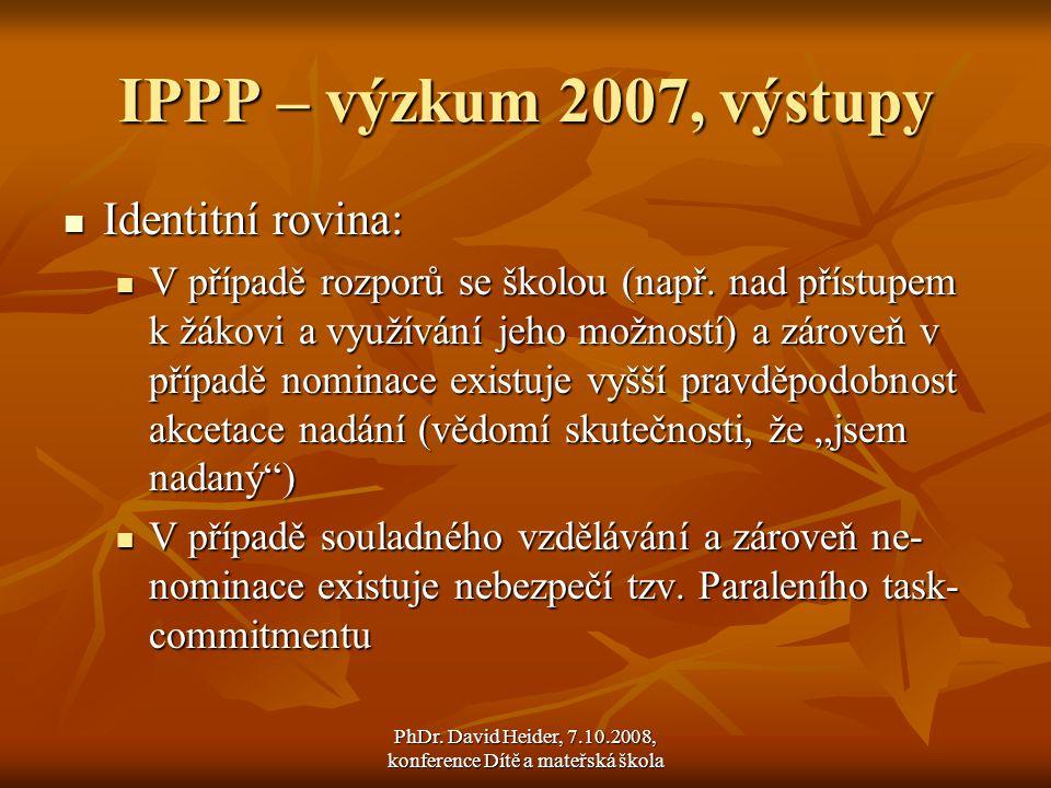 PhDr. David Heider, 7.10.2008, konference Dítě a mateřská škola
