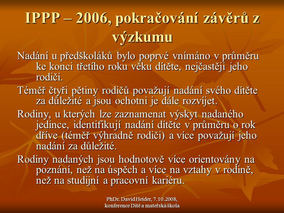 IPPP – 2006, pokračování závěrů z výzkumu