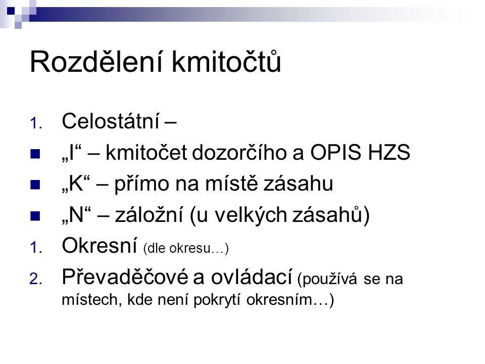 """Rozdělení kmitočtů Celostátní – """"I – kmitočet dozorčího a OPIS HZS"""