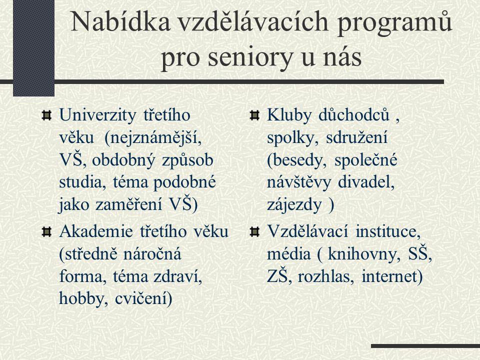 Nabídka vzdělávacích programů pro seniory u nás