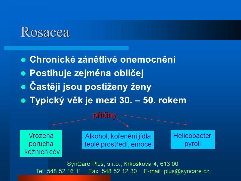 Rosacea Chronické zánětlivé onemocnění Postihuje zejména obličej