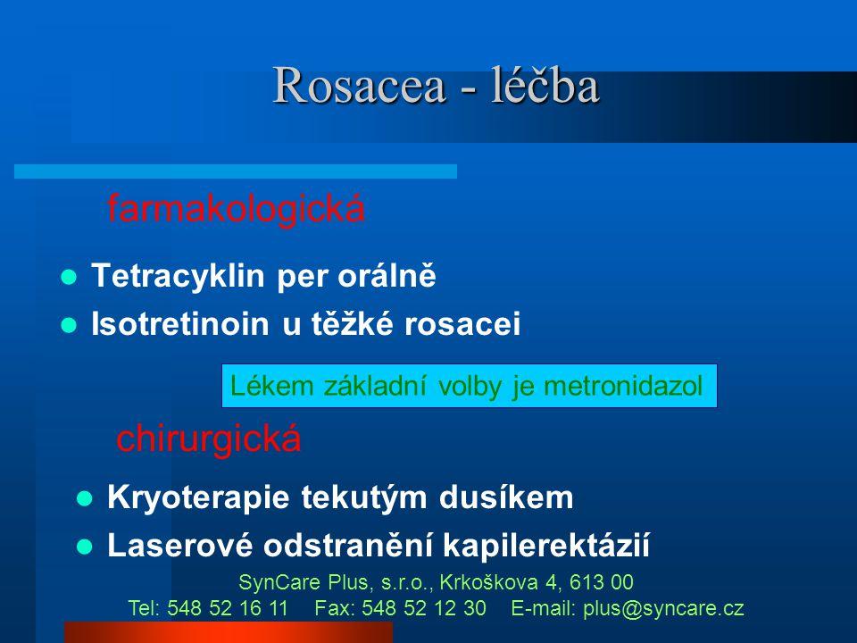 Rosacea - léčba farmakologická chirurgická Tetracyklin per orálně