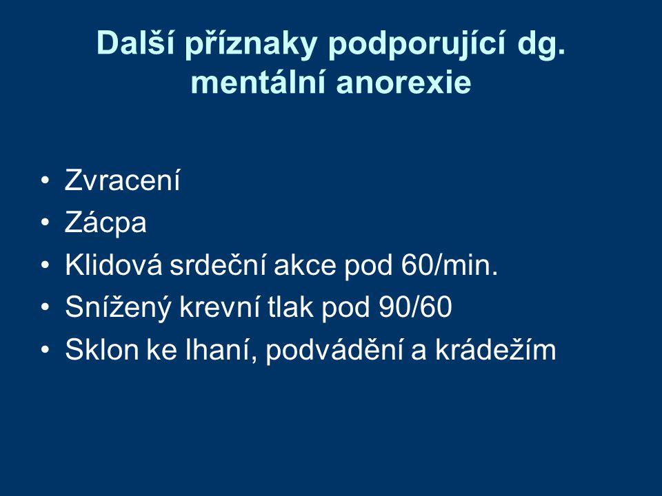 Další příznaky podporující dg. mentální anorexie