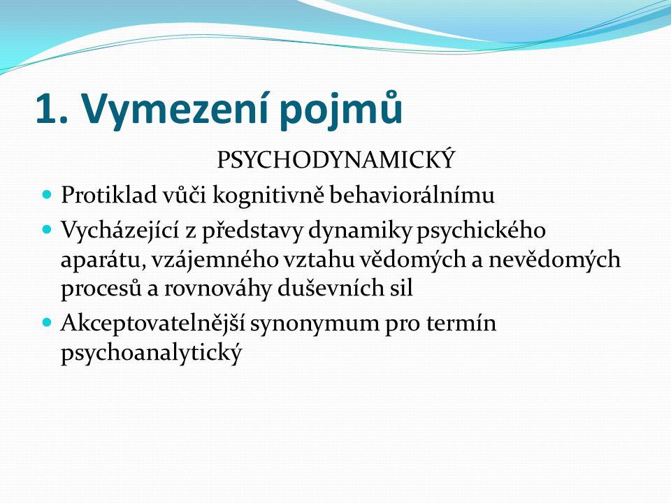 1. Vymezení pojmů PSYCHODYNAMICKÝ