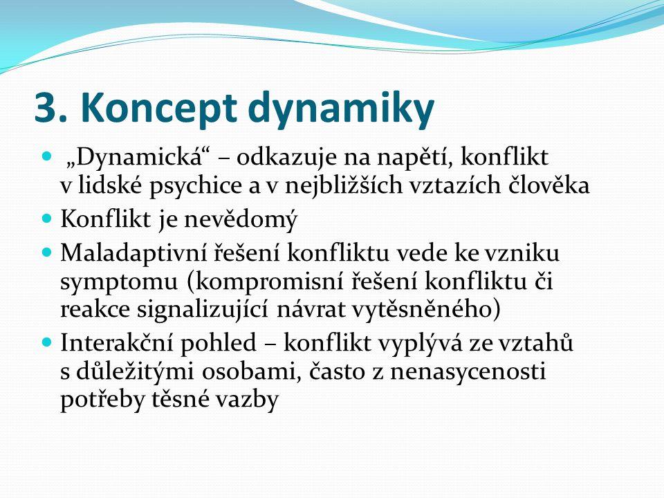"""3. Koncept dynamiky """"Dynamická – odkazuje na napětí, konflikt v lidské psychice a v nejbližších vztazích člověka."""